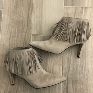 SAM EDELMAN Sz 8 Taupe Suede Fringe Ankle Boots